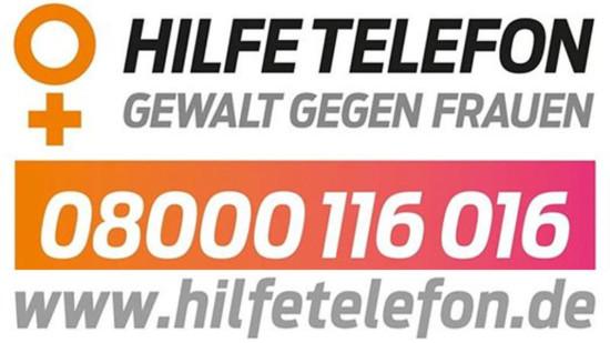 Nummer des Hilfetelefons gegen Gewalt